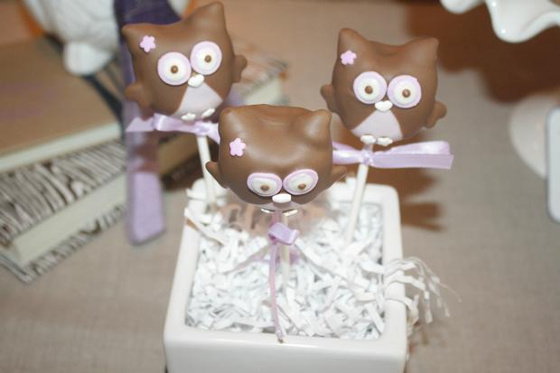 Night Owl Baby Shower, owl cake pops
