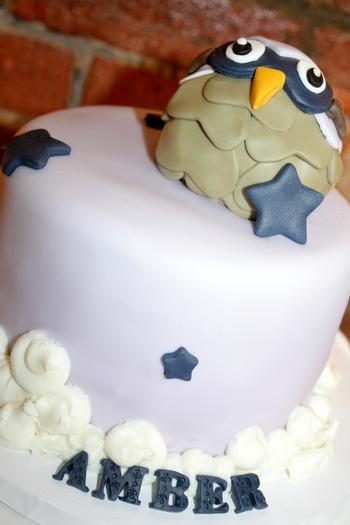 Night Owl Baby Shower, owl cake