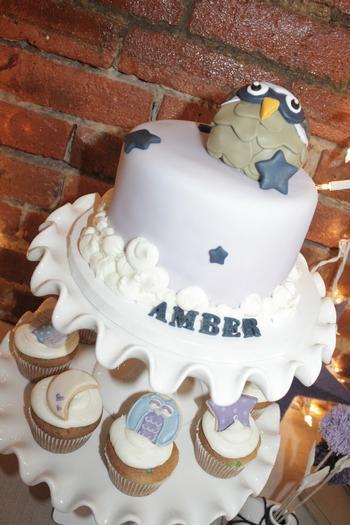 Night Owl Baby Shower, owl themed baby shower cake