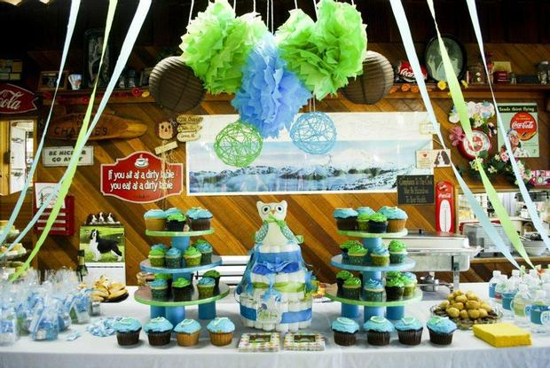Owl Baby Boy Shower dessert table