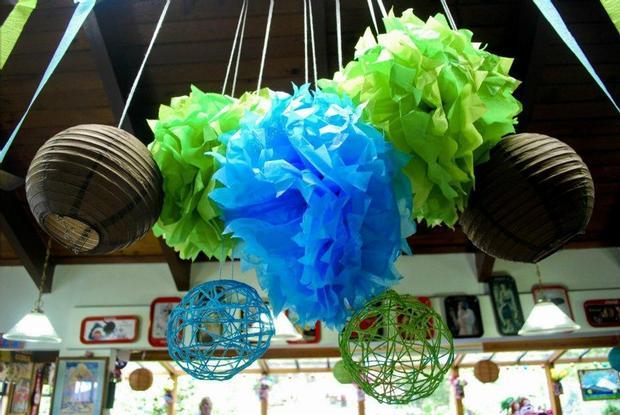 Owl Baby Boy Shower theme decoration ideas, hanging decors
