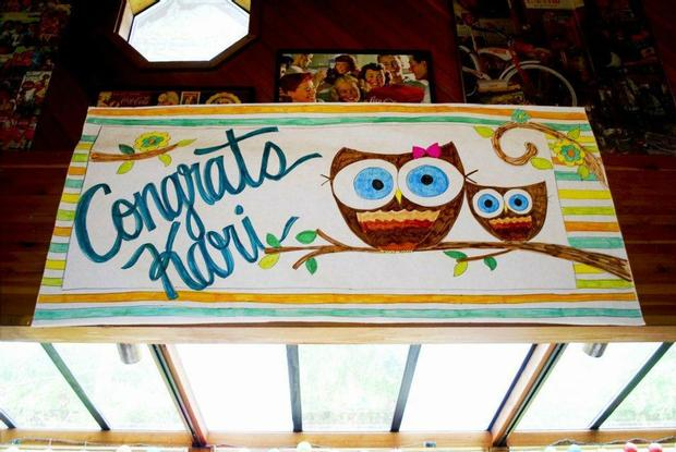 Owl Baby Boy Shower theme decoration ideas, owl thank you tags, banner mom and baby owl