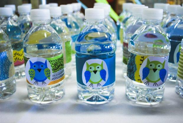 Owl Baby Boy Shower theme decoration ideas, water bottles labels so adorable