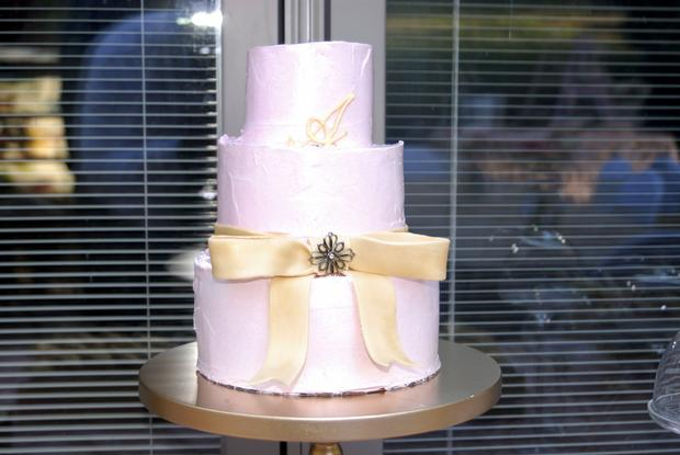 Pink and Gold Christening Reception, cake