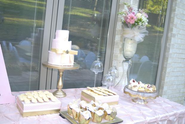 Pink and Gold Christening Reception, dessert table
