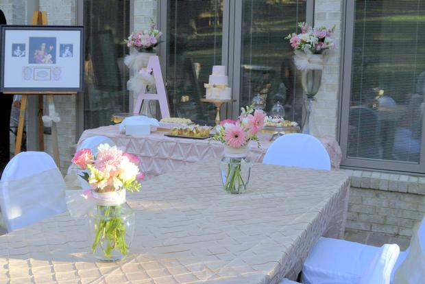 Pink and Gold Christening Reception florals