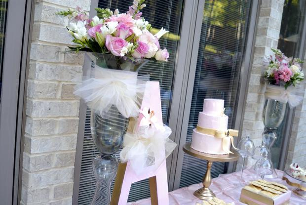 Pink and Gold Christening Reception, great baby girl baby shower ideas, birthday party via babyshowerideas4u