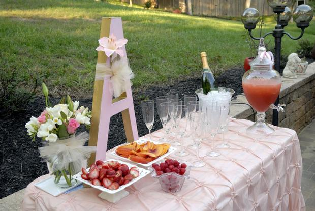 Pink and Gold Christening Reception, punch station