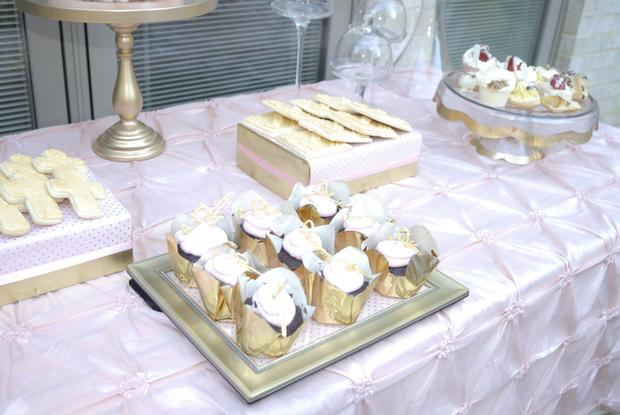 Pink and Gold Christening Reception, treats