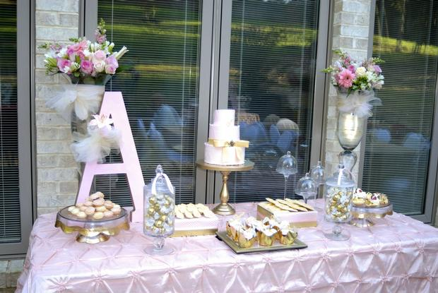 Pink and Gold Christening Reception