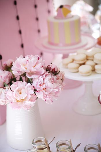 Pretty Pink and Chocolate Baby Shower florals