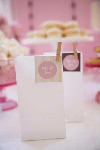 Pretty Pink and Chocolate Baby Shower, treats, bags