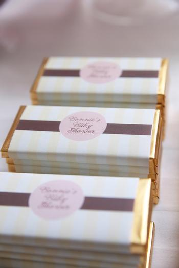 Pretty Pink and Chocolate Baby Shower, treats chocolate wrapper