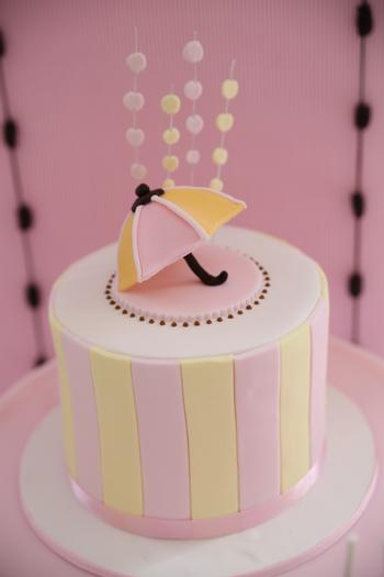 Pretty Pink and Chocolate Baby Shower, umbrella cookies, umbrella topped cake