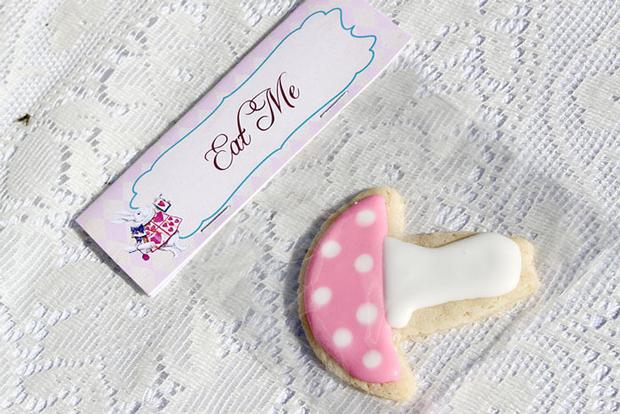 Shabby Chic Alice in Wonderland treats dipped marshmallows, eat me mushroom