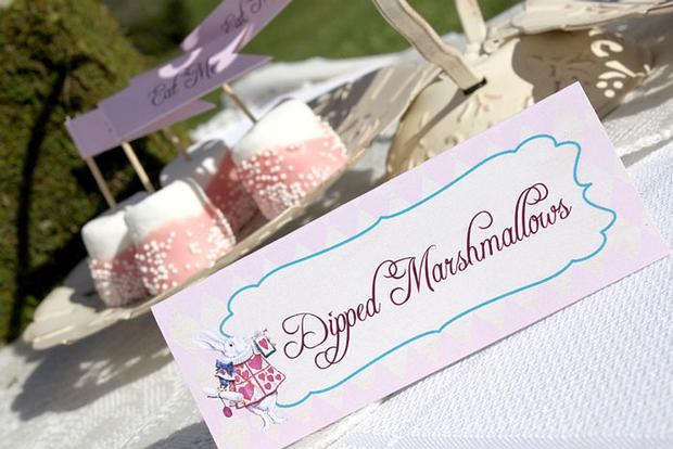 Shabby Chic Alice in Wonderland treats dipped marshmallows