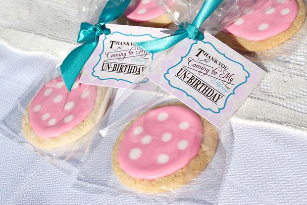 Shabby Chic Alice in Wonderland treats eat me labels mushroom cake pops favor tags