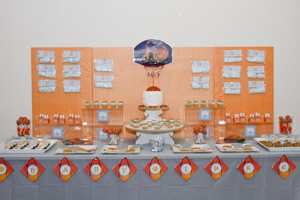 Slam Dunk Baby Shower table decor