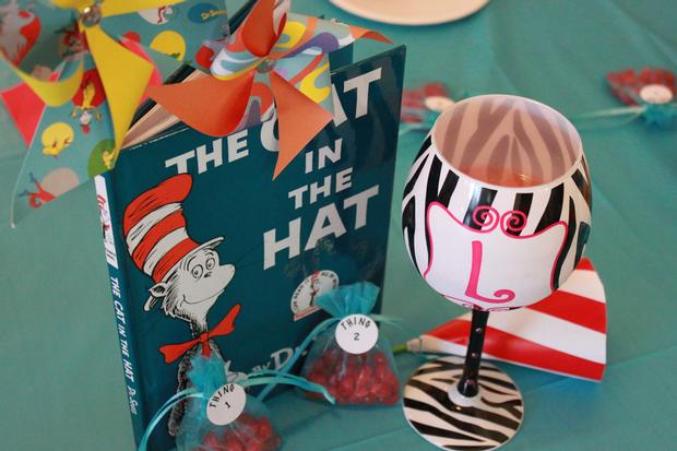 Thing 1 Thing 2 shower, Twin baby shower ideas, Dr Seuss inspired party, Dr Seuss theme party, popcorn, banner, cat in the hat, book and pinwheel