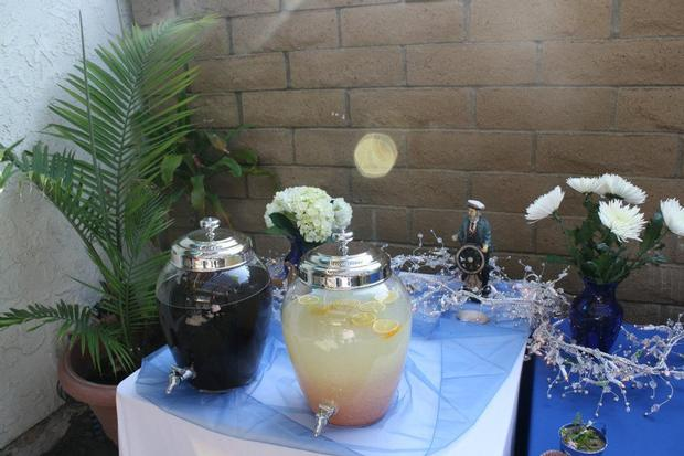 ahoy it's a boy baby shower ahoy its a boy decorations on the table drinks