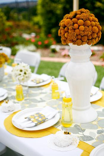 b is for baby shower invitation, bee themed, baby + bee, amazing table setting in yellow florals balls