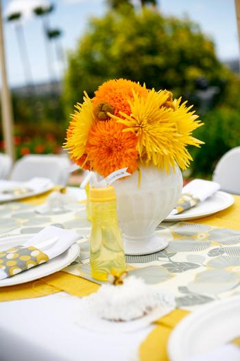 b is for baby shower invitation, bee themed, baby + bee, amazing table setting in yellow florals