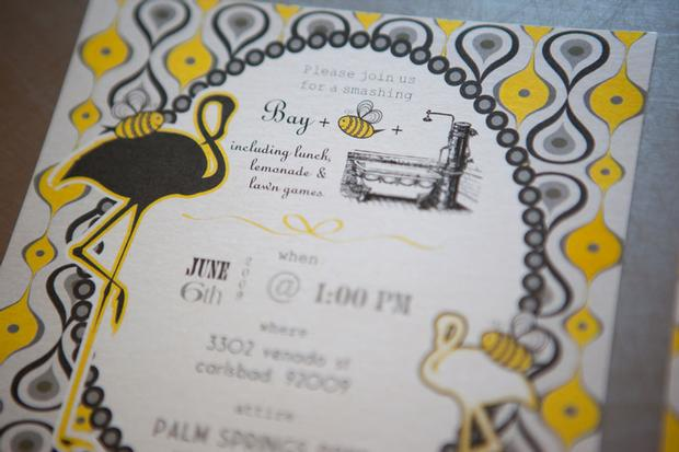 b is for baby shower invitation, bee themed, baby + bee