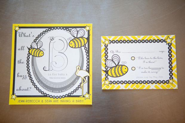 b is for baby shower invitation, bee themed