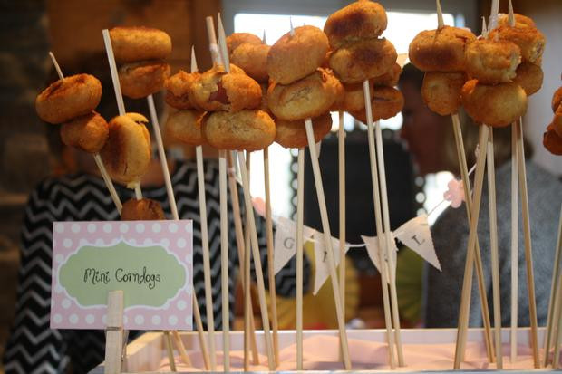 carnival chic baby shower ideas, decorations, creative treat cones, mini corndogs