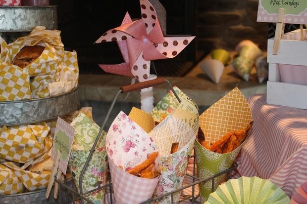 carnival chic baby shower ideas, decorations, creative treat cones