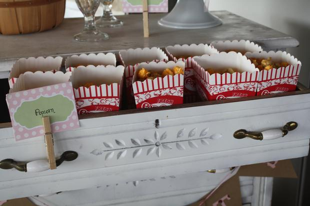 chic carnival baby shower, carnival chic baby shower ideas, decorations, pink rock candy, popcorn