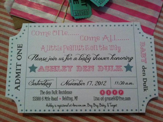 carnival chic baby shower ideas, invitation card