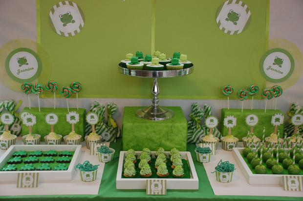 frog themed baby shower ideas, decorations, green colors, dessert table