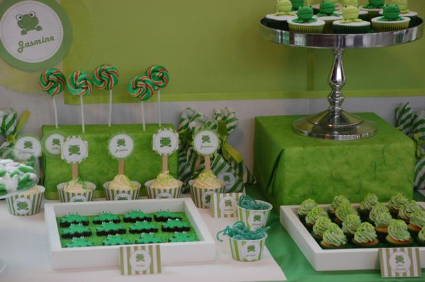 frog themed baby shower ideas, decorations, green colors, frog toppers, frog color macarons, dessert table