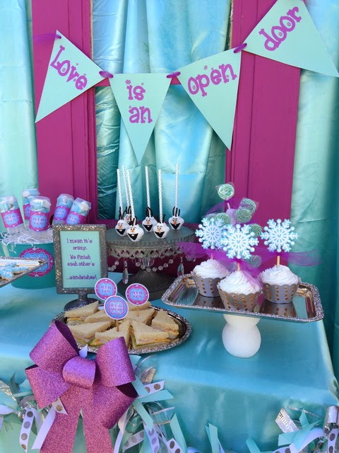 frozen movie birthday party, snowflakes toppers, loveis an open door