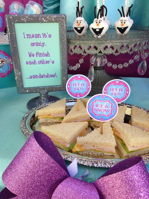frozen movie birthday party, snowflakes toppers, sandwiches