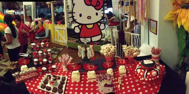 hello kitty birthday party, hello kitty baby shower ideas dessert table