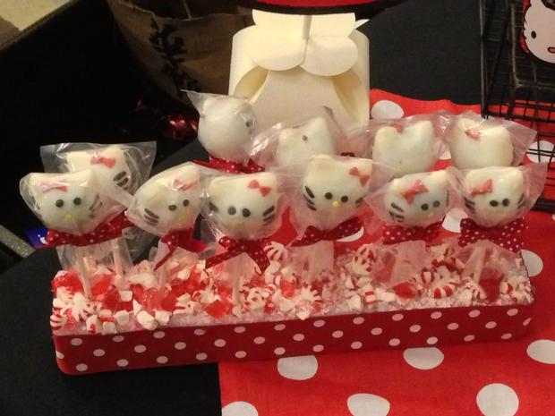 hello kitty birthday party, hello kitty baby shower ideas themed brownies cake pops