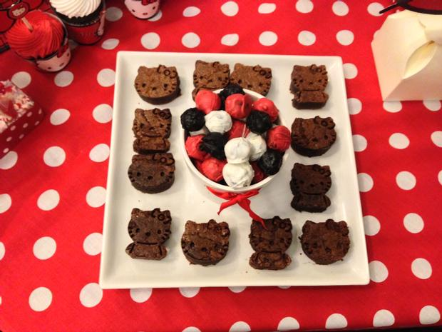 hello kitty birthday party, hello kitty baby shower ideas themed brownies