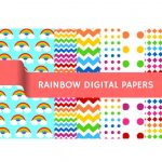FREE Rainbow Themed Digital Papers