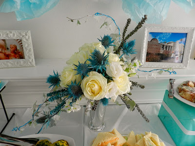 little baby blue baby shower florals