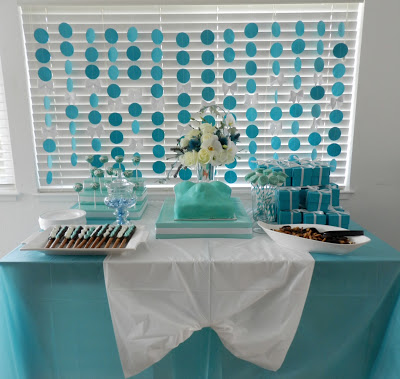 little baby blue baby shower fruits salad game table gift table center table