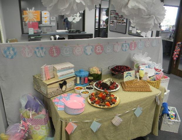 office baby shower, dessert table