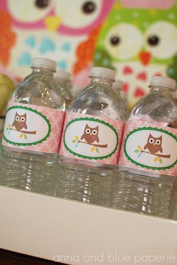 owl themed baby shower owl cupcake topper, water bottles printable
