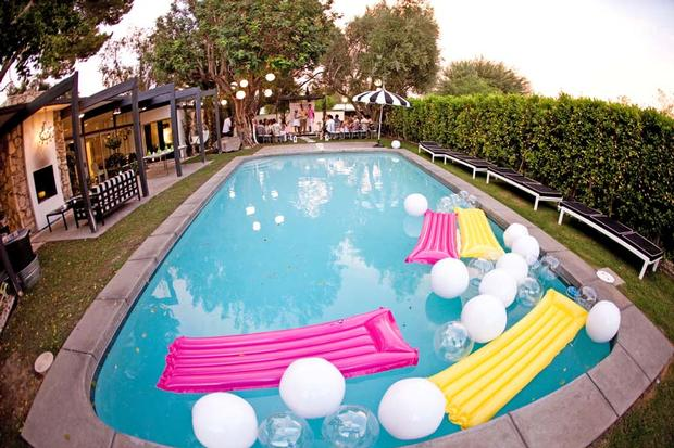 palm springs pop art party ideas, wedding, birthday party, baby shower inspirations, lemon party theme, hello kitty ring, pool
