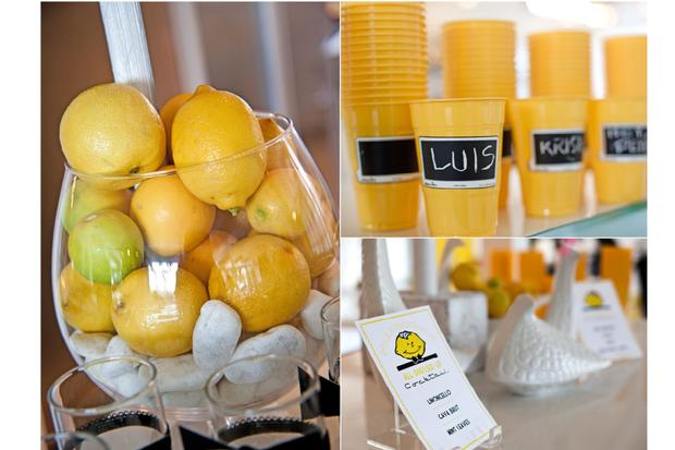 palm springs pop art party ideas, wedding, birthday party, baby shower inspirations, lemon party theme