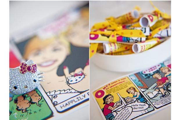 palm springs pop art party ideas, wedding, birthday party, baby shower inspirations, lemonhead box, comic wedding story
