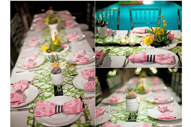 palm springs pop art party ideas, wedding, birthday party, baby shower inspirations, lemonhead box, lovely table setting, bow tie napkins