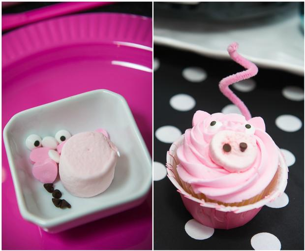 pink pig party ideas, birthday party, baby shower, playdate ideas, dessert table, jars, diy pig cupcake