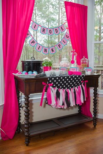 pink pig party ideas, birthday party, baby shower, playdate ideas, dessert table